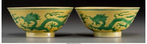 78271 A Pair of Imperial Chinese Yellow Green Enameled