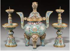 78155 A ThreePiece Chinese Gilt Bronze and Cloisonne