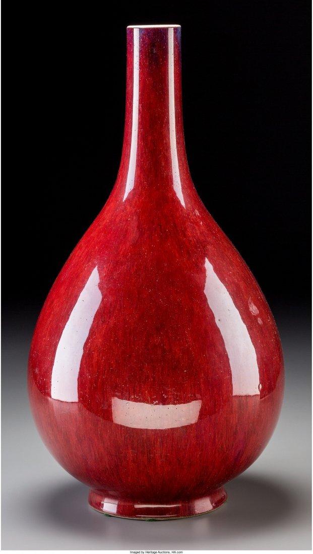 78241: A Chinese Flambe Glazed Bottle Vase, Qianlong Pe