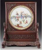 78172: A Chinese Famille Rose Porcelain and Carved Rose