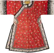 78178: A Chinese Embroidered Red Silk Butterfly Robe 55