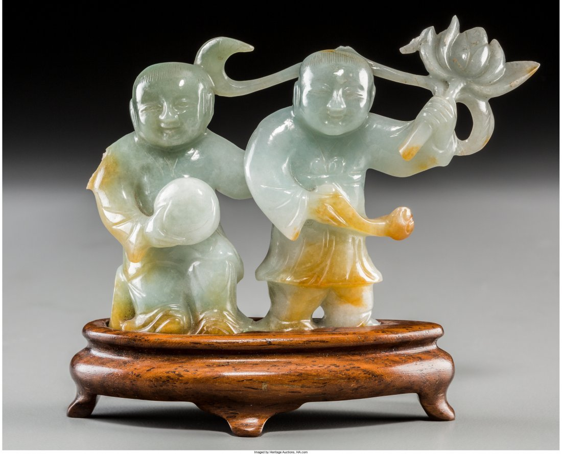 78549: A Chinese Carved Jade Figural Group of He-He Twi