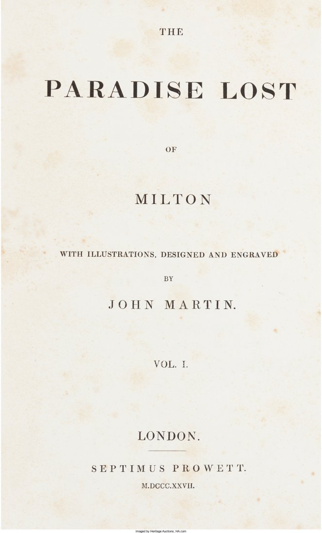 45156: John Milton. [John Martin, Illustrator and Engra
