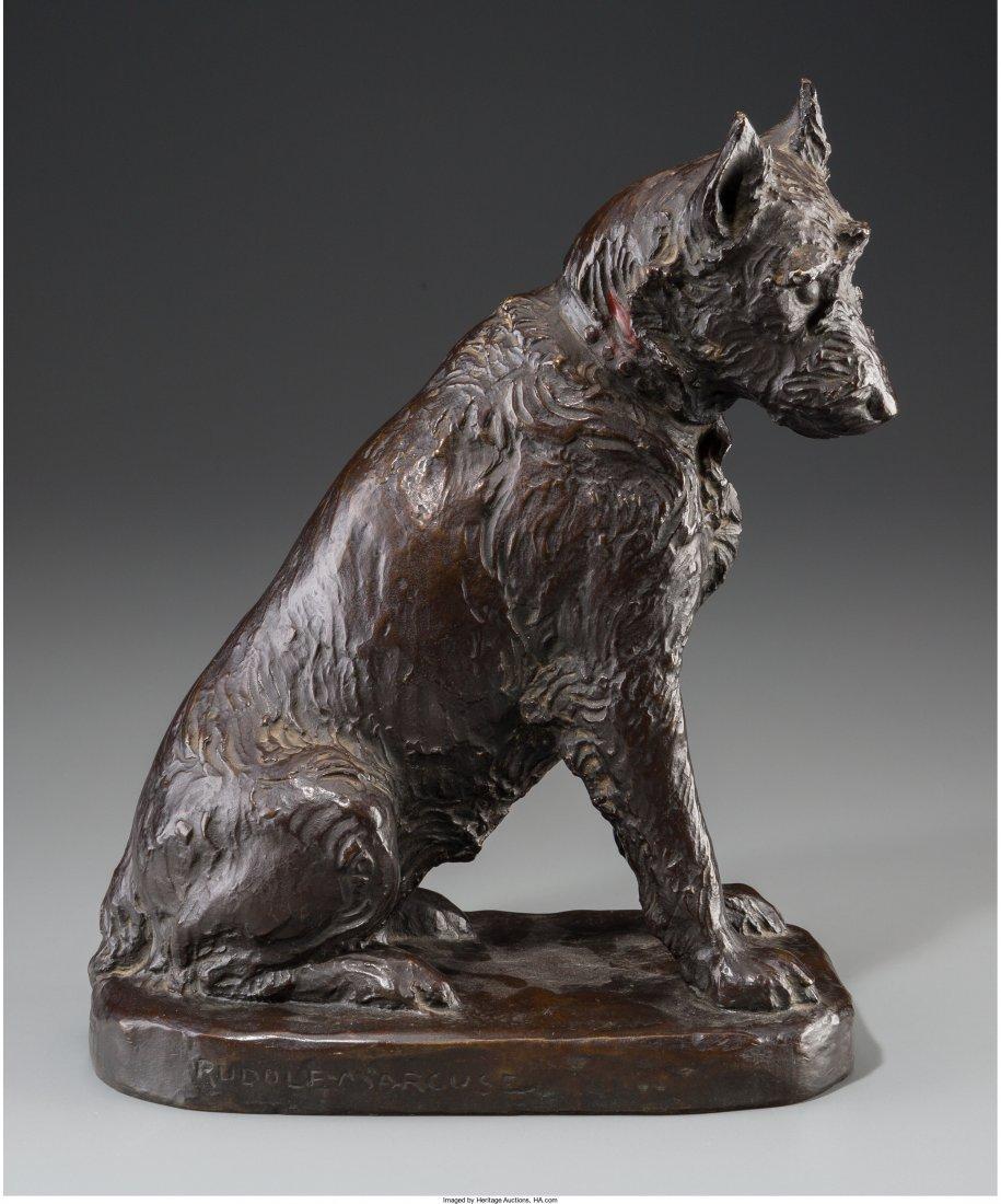 A Rudolf Marcuse Bronze Figure of a Dog with Johann