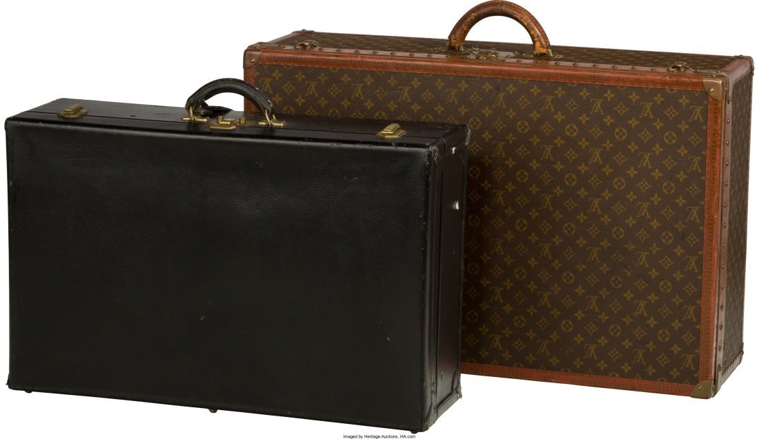 Two Louis Vuitton and Hermes Leather Suitcases, Paris,