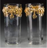 A Pair of French Gilt BronzeMounted Glass Vases 1458