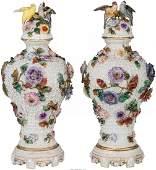 A Pair of Dresden Porcelain Schneeballen Covered Vases,
