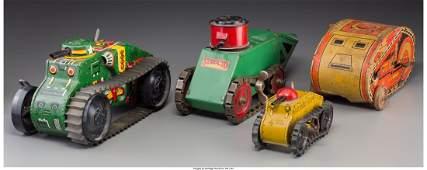 Four Pressed Steel World War I Tank Toys, circa