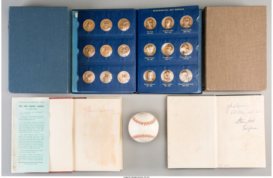 A John F. Kennedy-Owned Baseball and Stand with Related