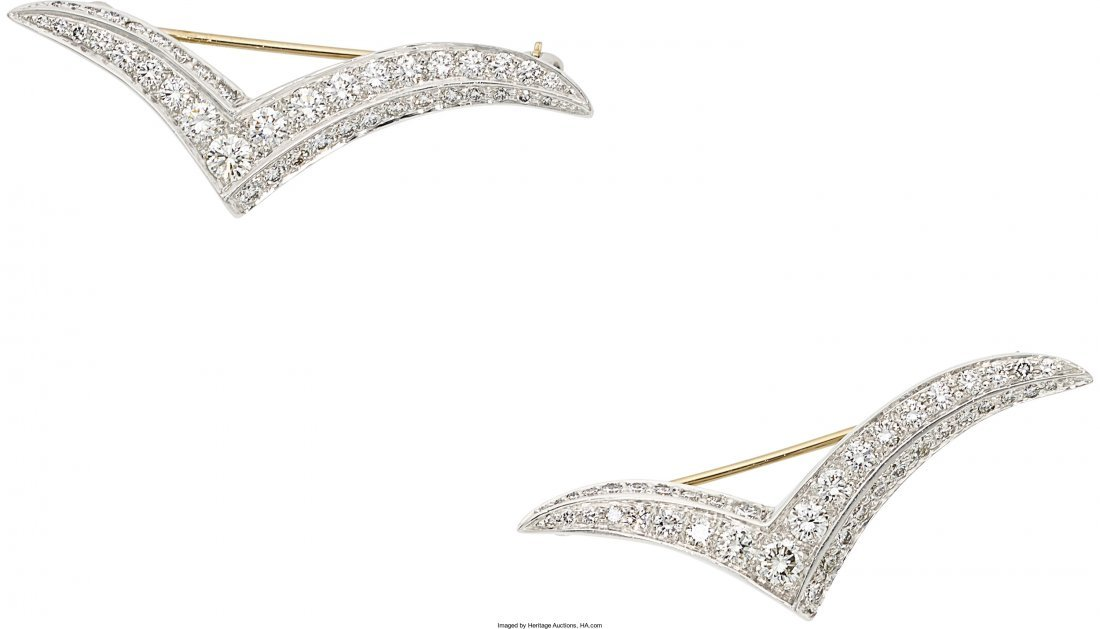 55203: Diamond, Platinum Brooches, Tiffany & Co.  The S