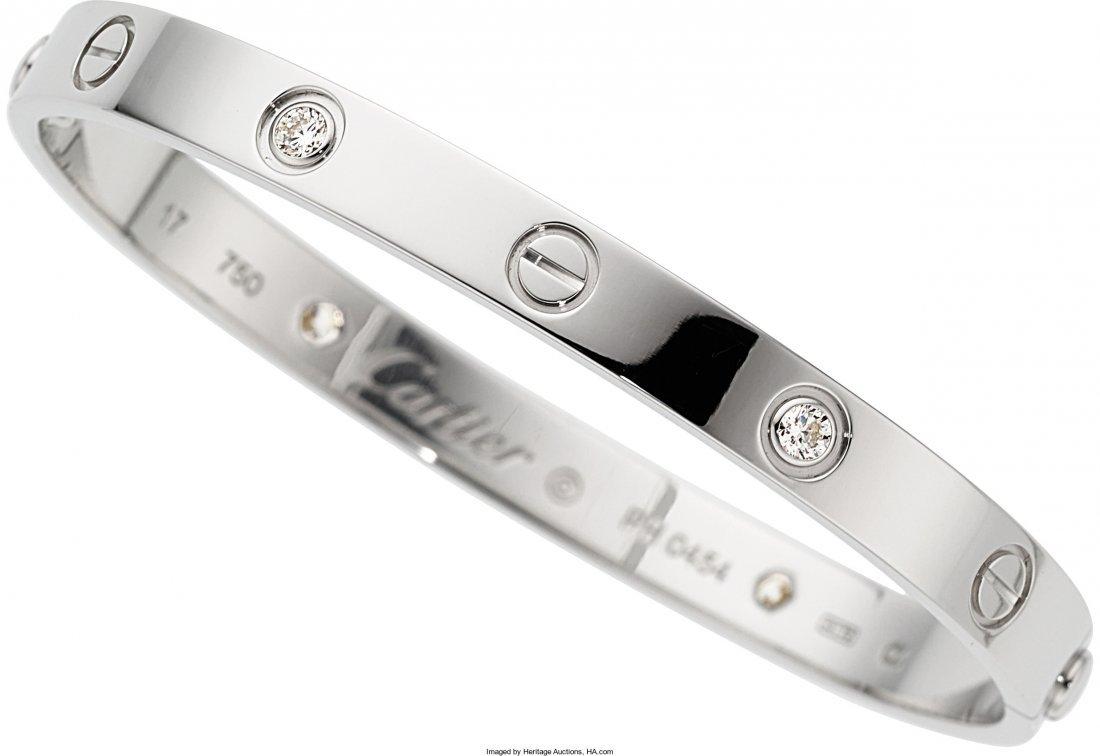 55008: Diamond, White Gold Bracelet, Cartier  The Love