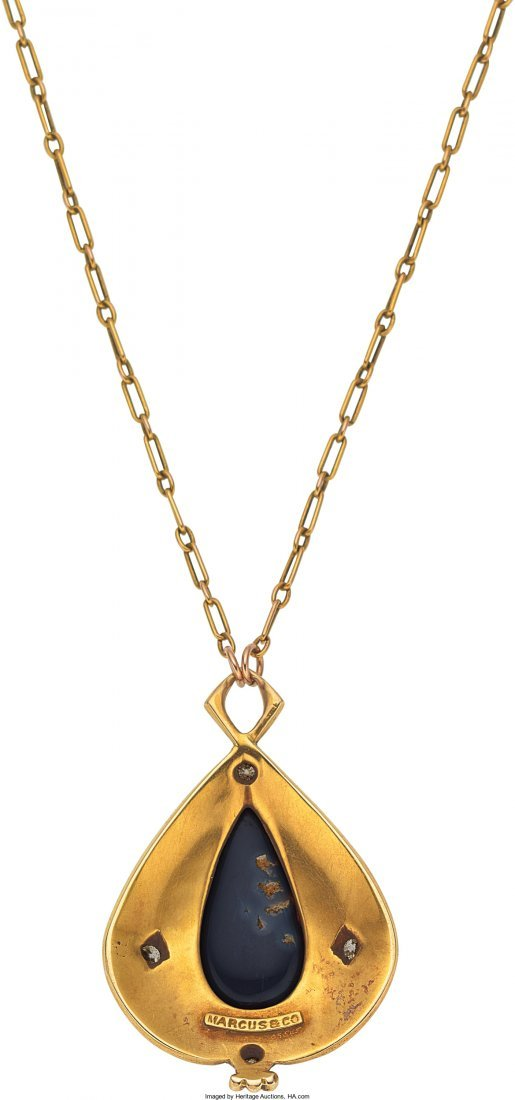 55145: Arts and Crafts Black Opal, Diamond, Enamel, Gol - 2
