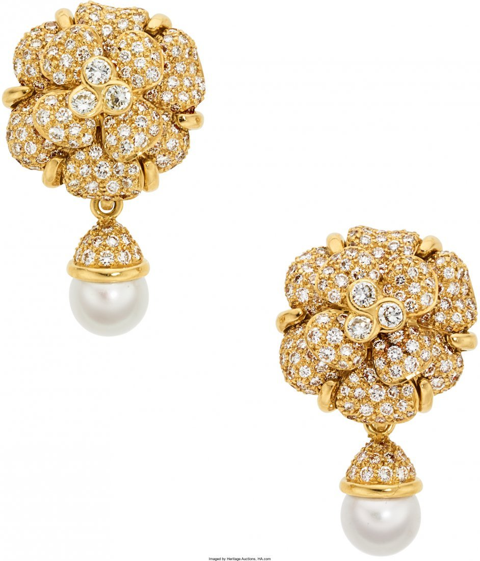 55066: Diamond, Cultured Pearl, Gold Earrings, Chanel