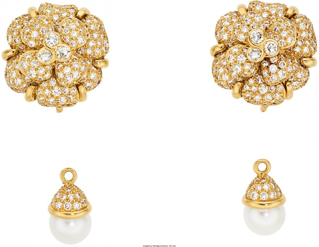 55066: Diamond, Cultured Pearl, Gold Earrings, Chanel   - 2