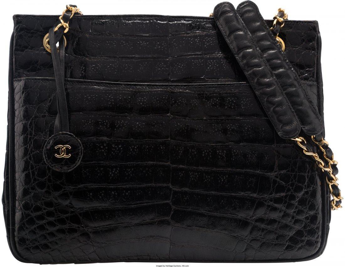 58008: Chanel Shiny Black Caiman Crocodile Shoulder Bag