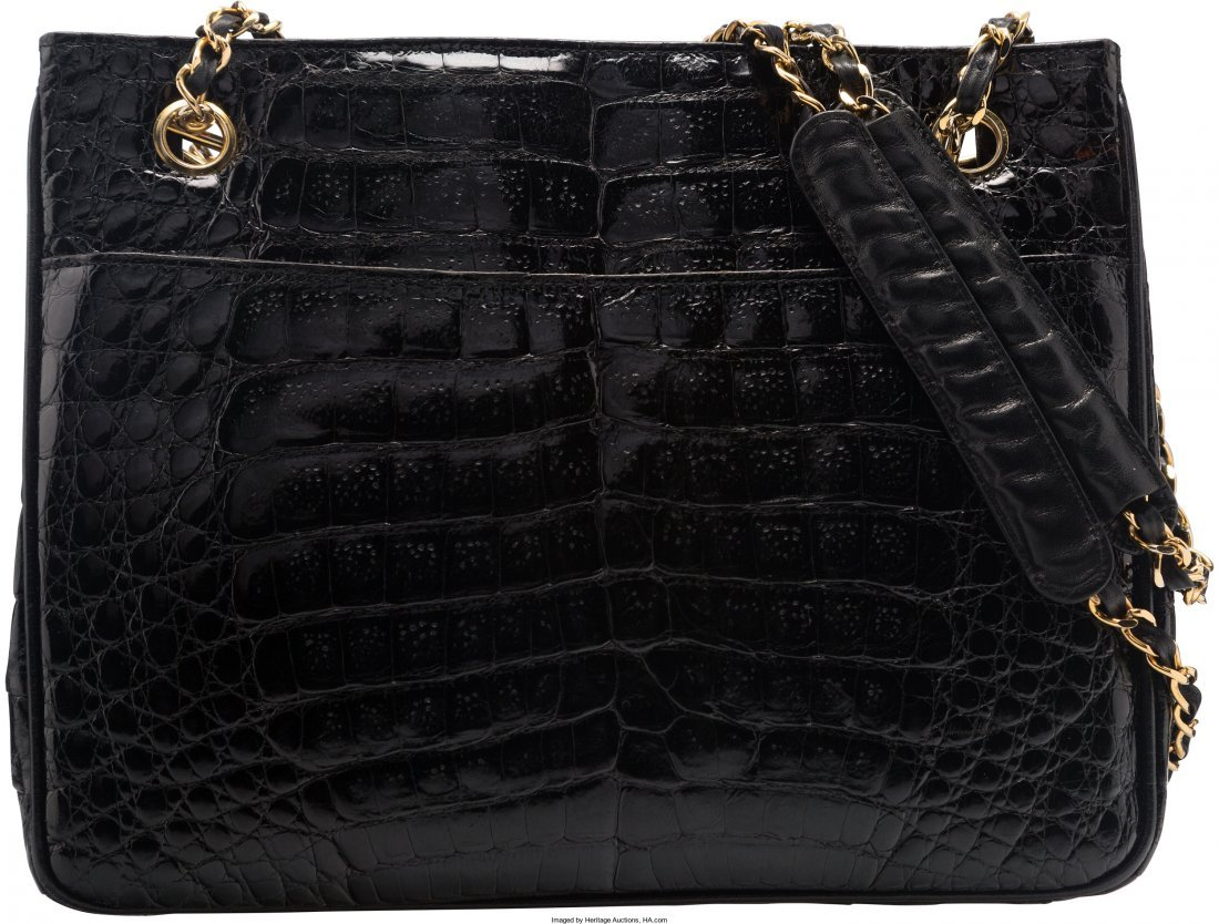 58008: Chanel Shiny Black Caiman Crocodile Shoulder Bag - 2