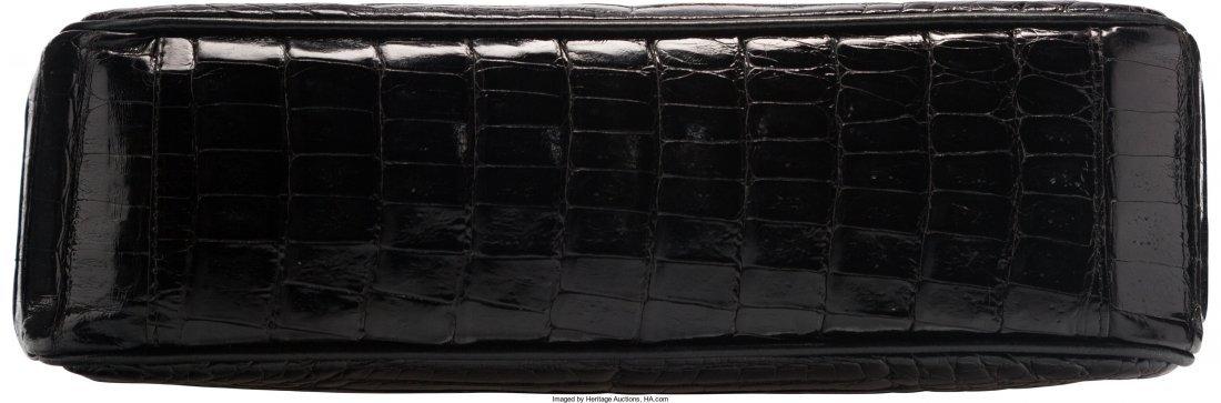 58008: Chanel Shiny Black Caiman Crocodile Shoulder Bag - 3
