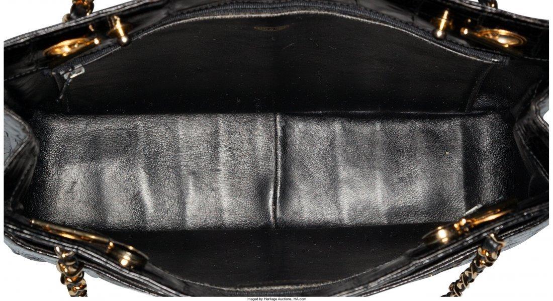58008: Chanel Shiny Black Caiman Crocodile Shoulder Bag - 4