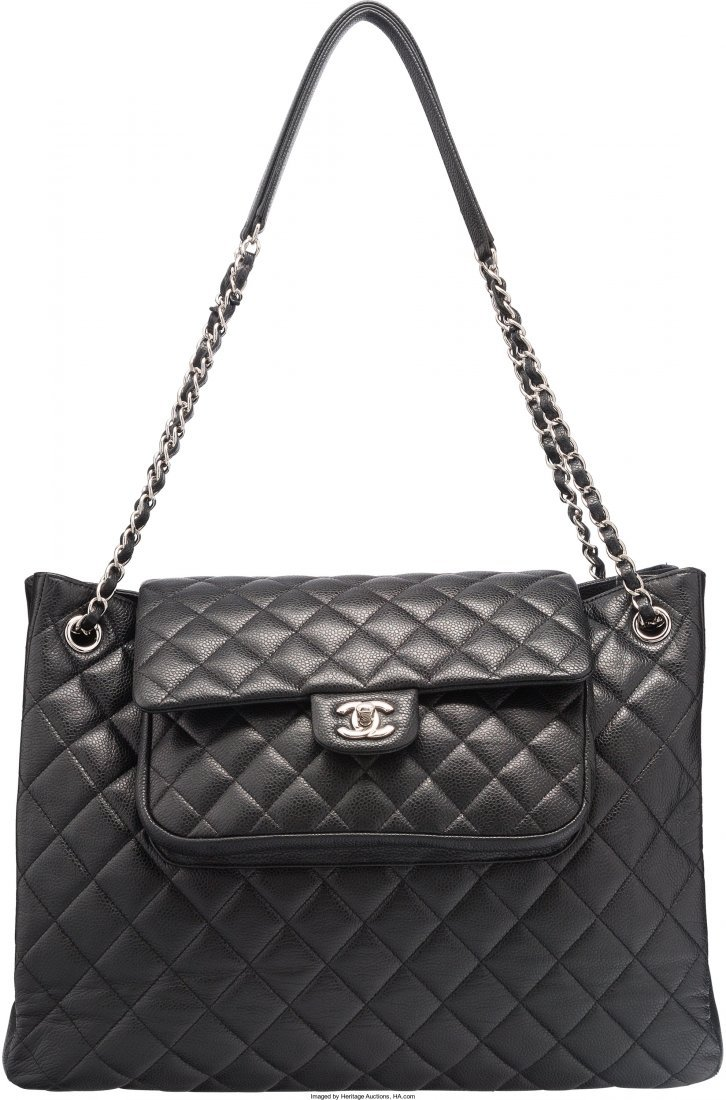 58009: Chanel Black Quilted Caviar Leather Tote Bag Exc
