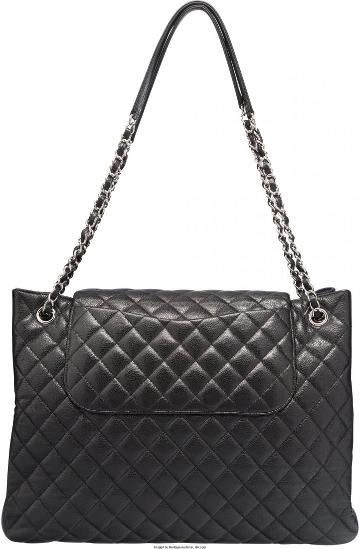 58009: Chanel Black Quilted Caviar Leather Tote Bag Exc - 2