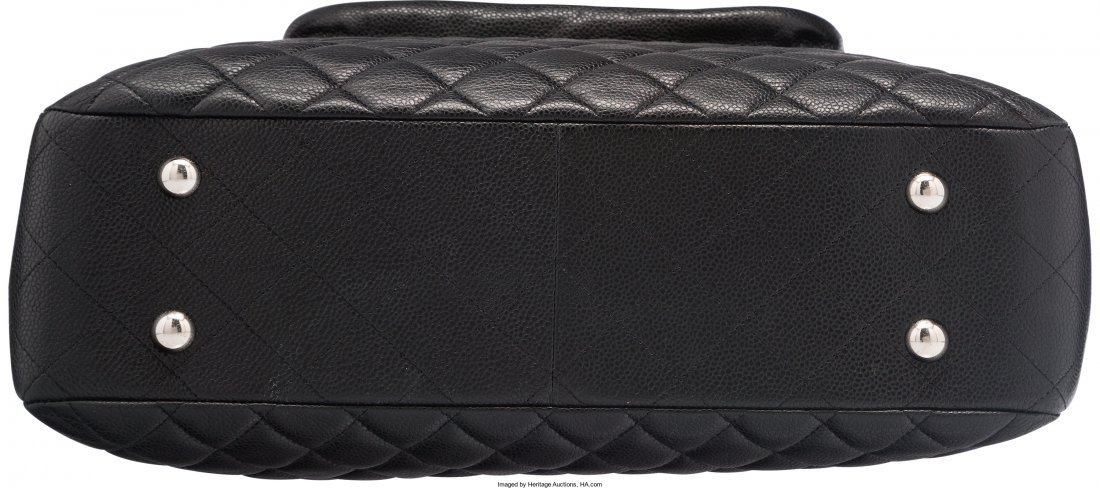 58009: Chanel Black Quilted Caviar Leather Tote Bag Exc - 3