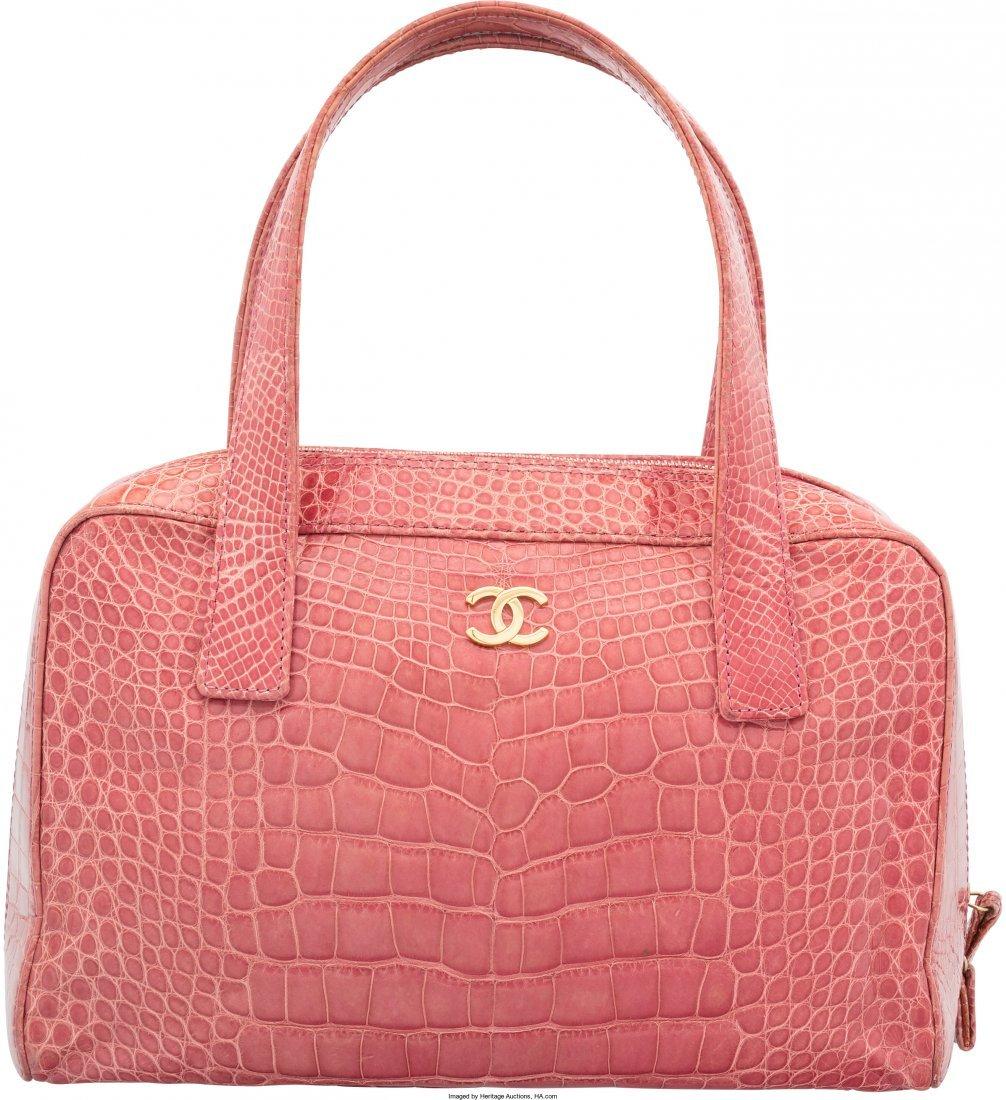 58020: Chanel Shiny Pink Crocodile Tote Bag Very Good C