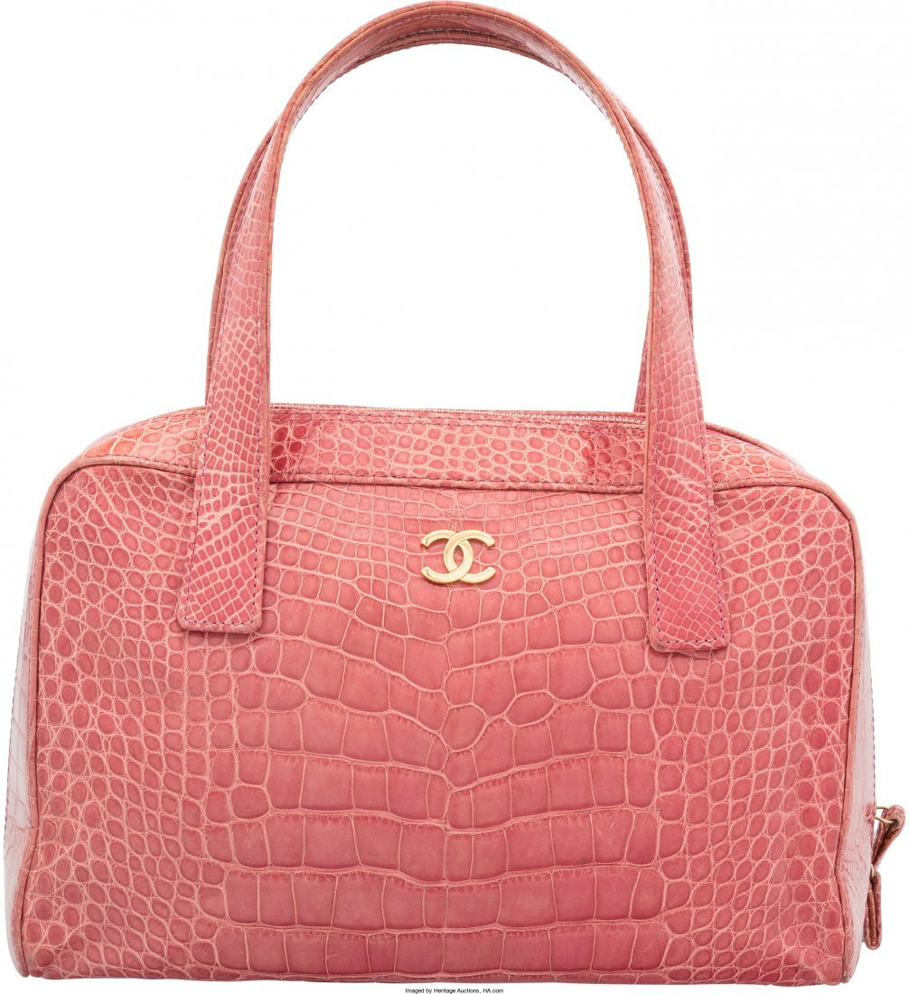 58020: Chanel Shiny Pink Crocodile Tote Bag Very Good C