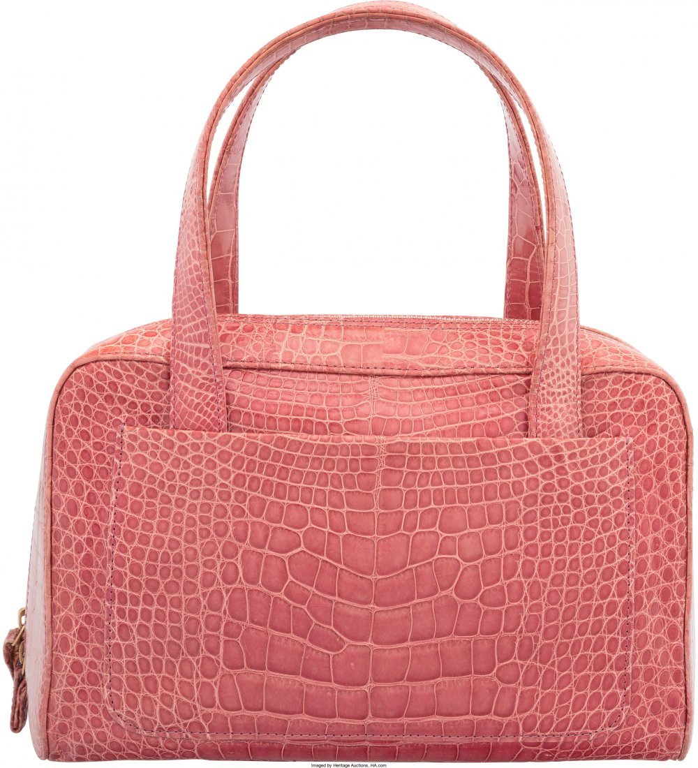 58020: Chanel Shiny Pink Crocodile Tote Bag Very Good C - 2