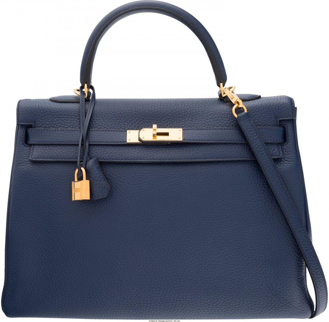 58093: Hermes 35cm Blue Saphir Clemence Leather Retourn