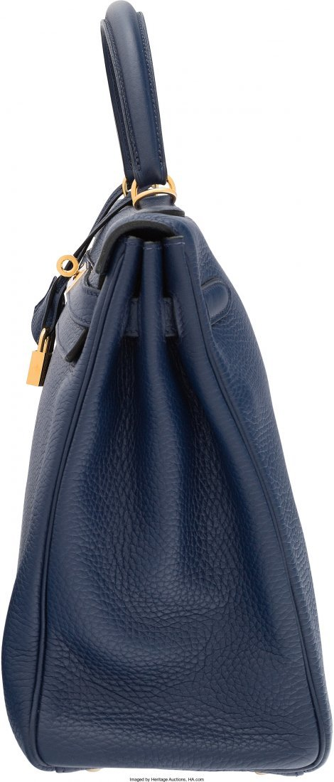 58093: Hermes 35cm Blue Saphir Clemence Leather Retourn - 3