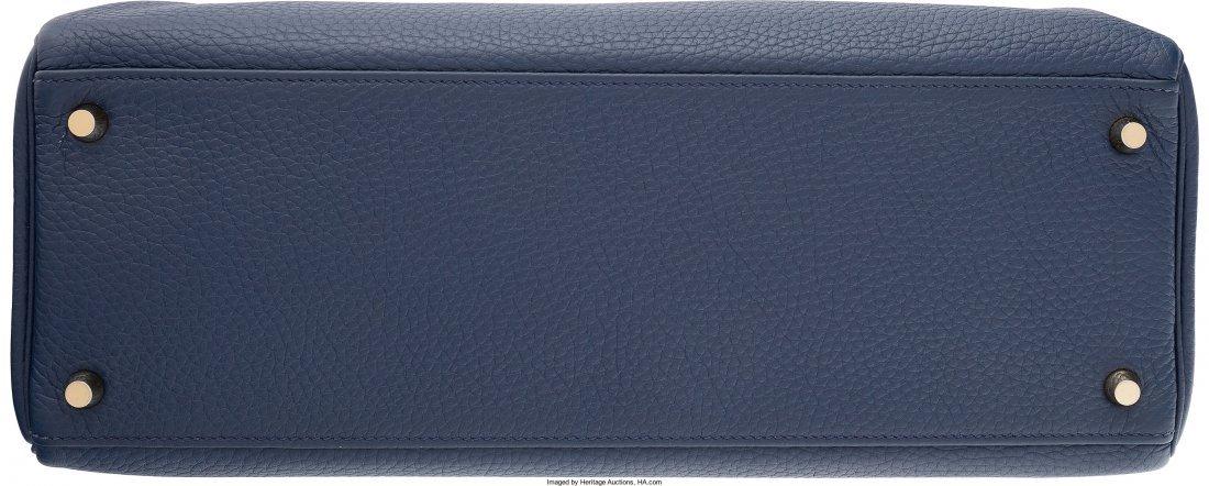 58093: Hermes 35cm Blue Saphir Clemence Leather Retourn - 4
