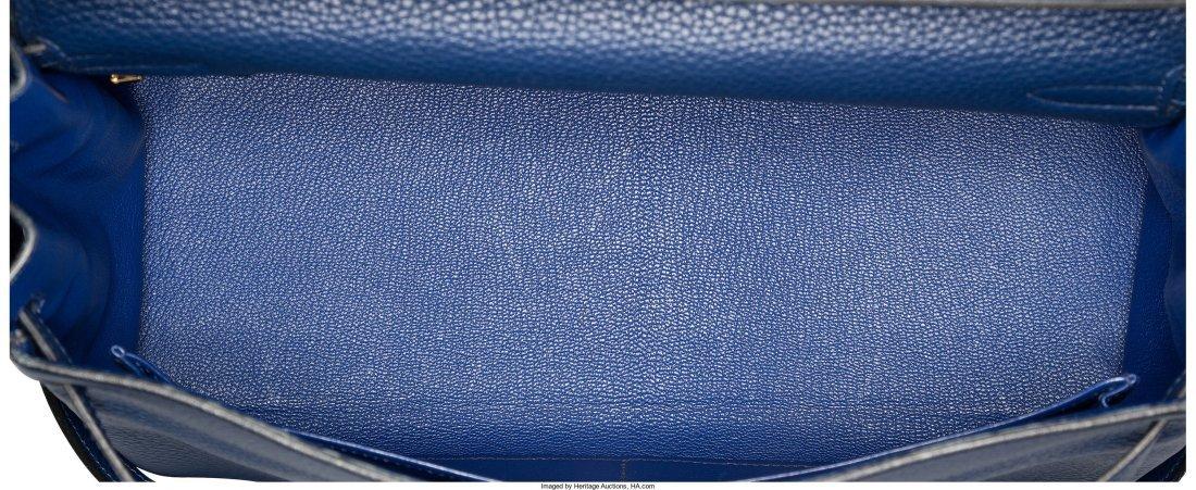 58093: Hermes 35cm Blue Saphir Clemence Leather Retourn - 5