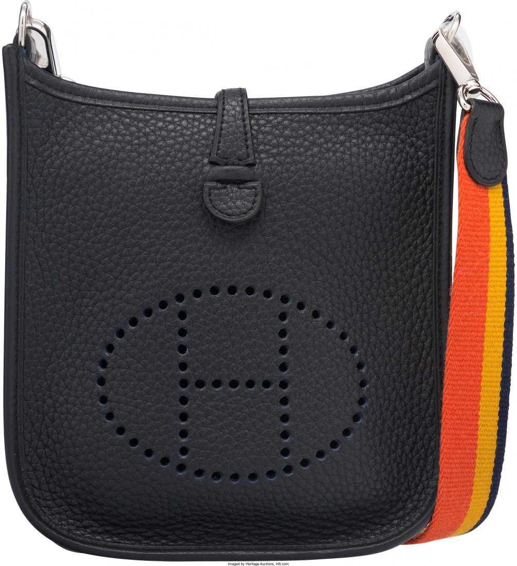 65082f24f780 58096  Hermes Indigo Clemence Leather Evelyne TPM Bag w