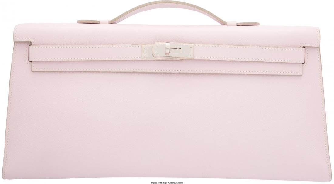 58109: Hermes Rose Dragee Swift Leather Kelly Longue Cl