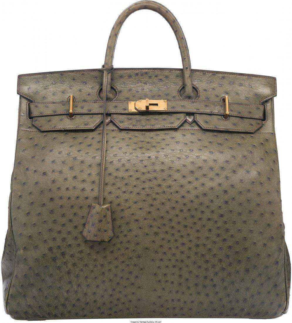 58077: Hermes 45cm Vert Foret Ostrich HAC Birkin Bag wi