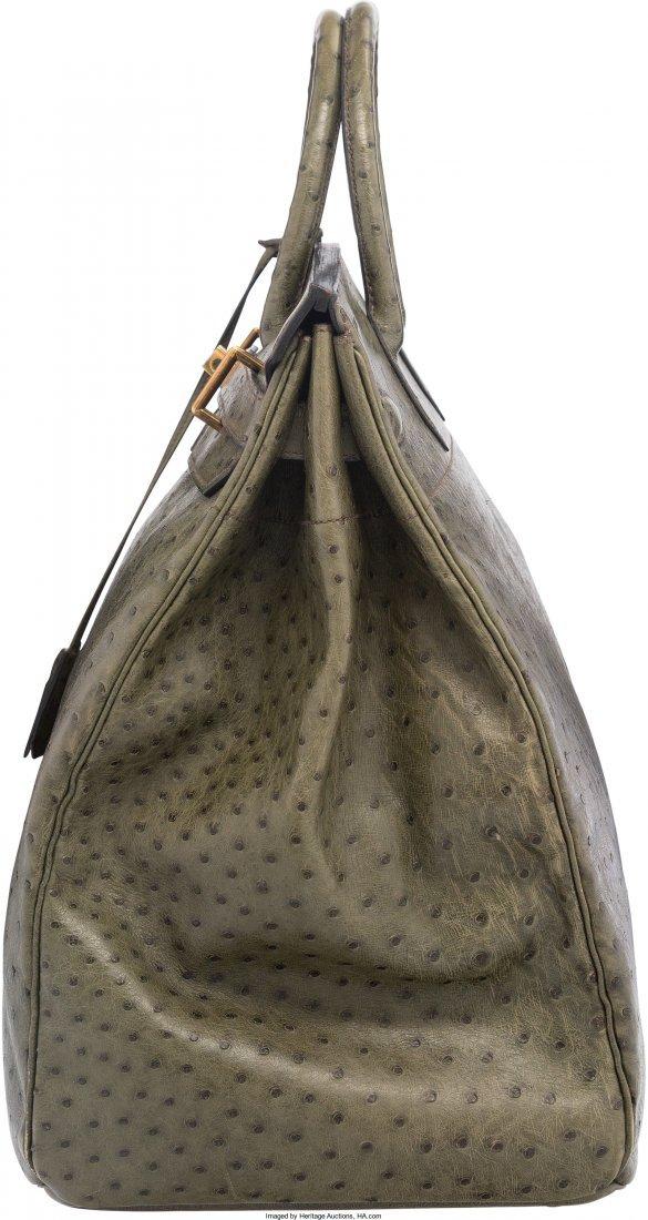 58077: Hermes 45cm Vert Foret Ostrich HAC Birkin Bag wi - 3