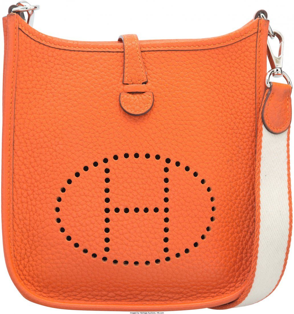58127: Hermes Feu Clemence Leather Evelyne TPM Bag with