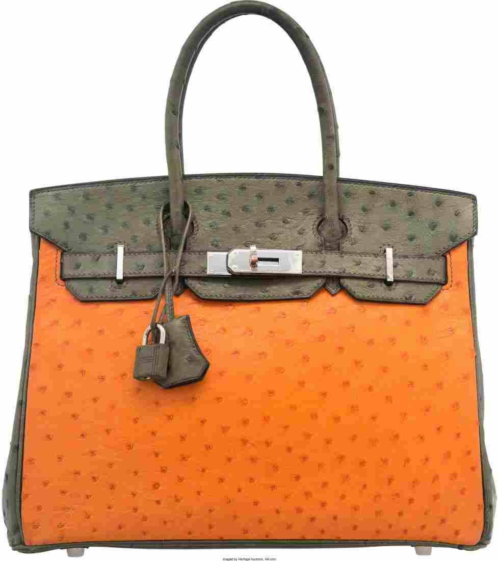 58128: Hermes Special Order 30cm Tangerine, Vert Foret