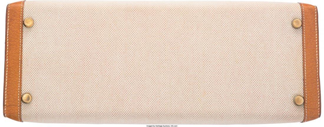 58134: Hermes 32cm Natural Peau Porc Leather & Ecru Toi - 4