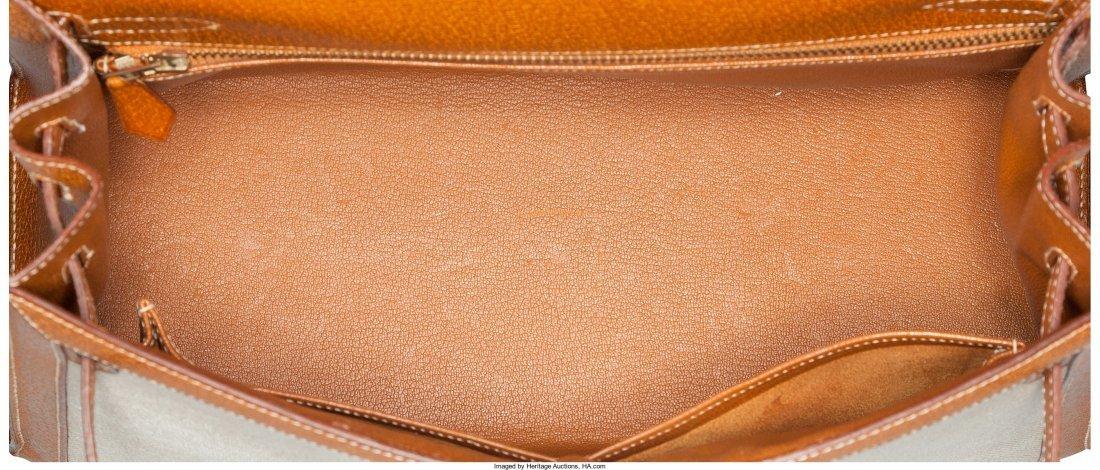 58134: Hermes 32cm Natural Peau Porc Leather & Ecru Toi - 5