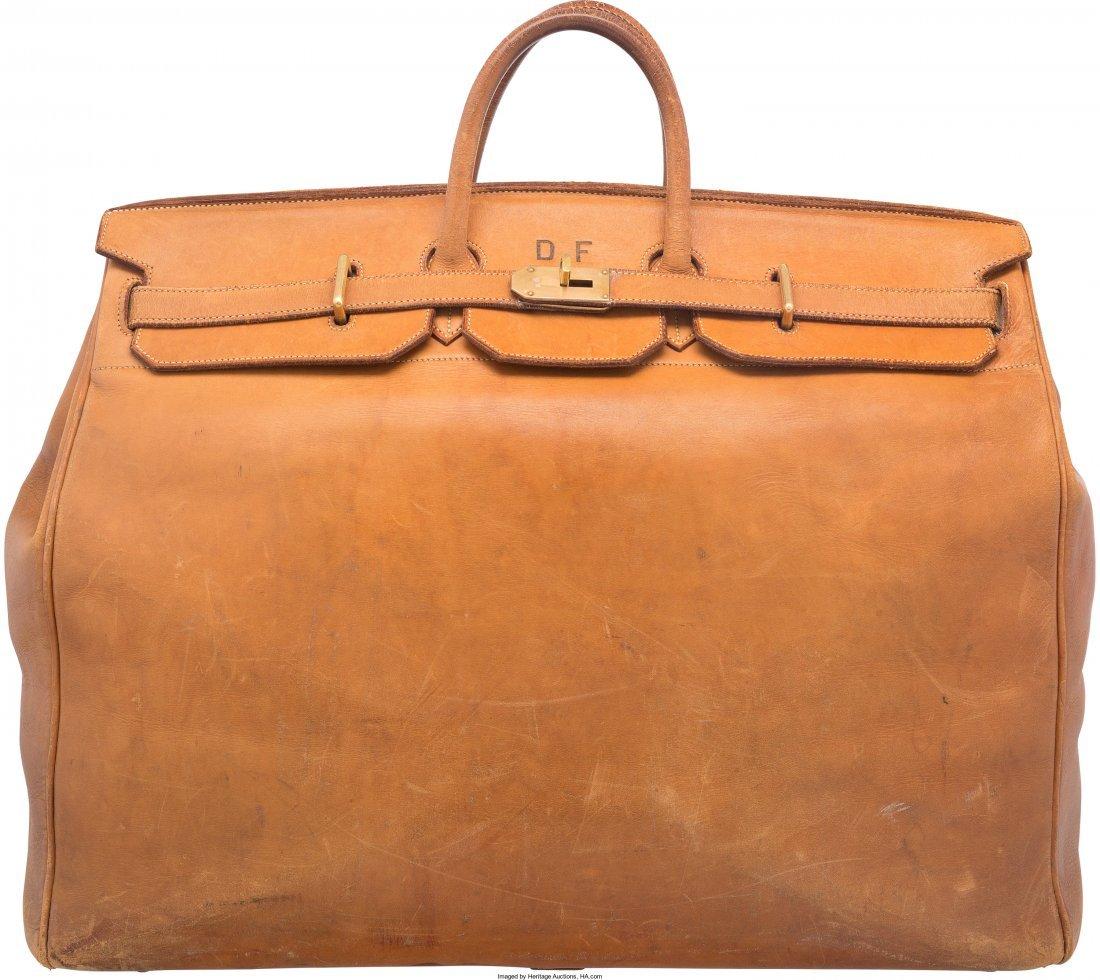 58141: Hermes 55cm Vache Naturelle Leather HAC Birkin B