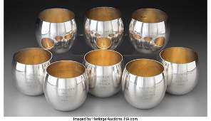 74261: Eight Tiffany & Co. Partial Gilt Silver Punch Cu