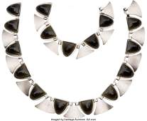 74278 A TwoPiece Fred Davis Mexican Silver and Onyx M