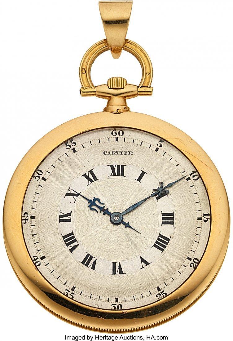 54220: Cartier 18k Gold & Enamel Watch, European Watch