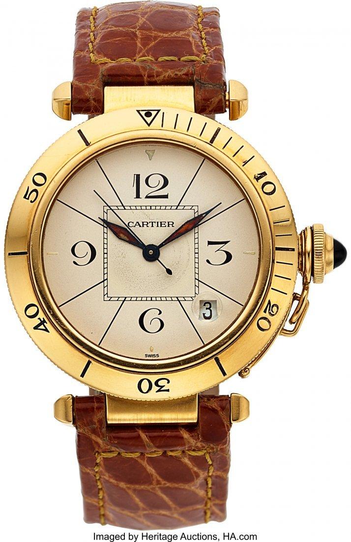 54047: Cartier Gentlemen's 18k Yellow Gold Pasha Automa