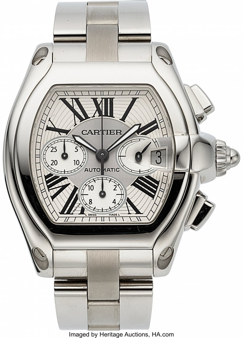54050: Cartier Ref. 2618 Large Stainless Steel Roadster