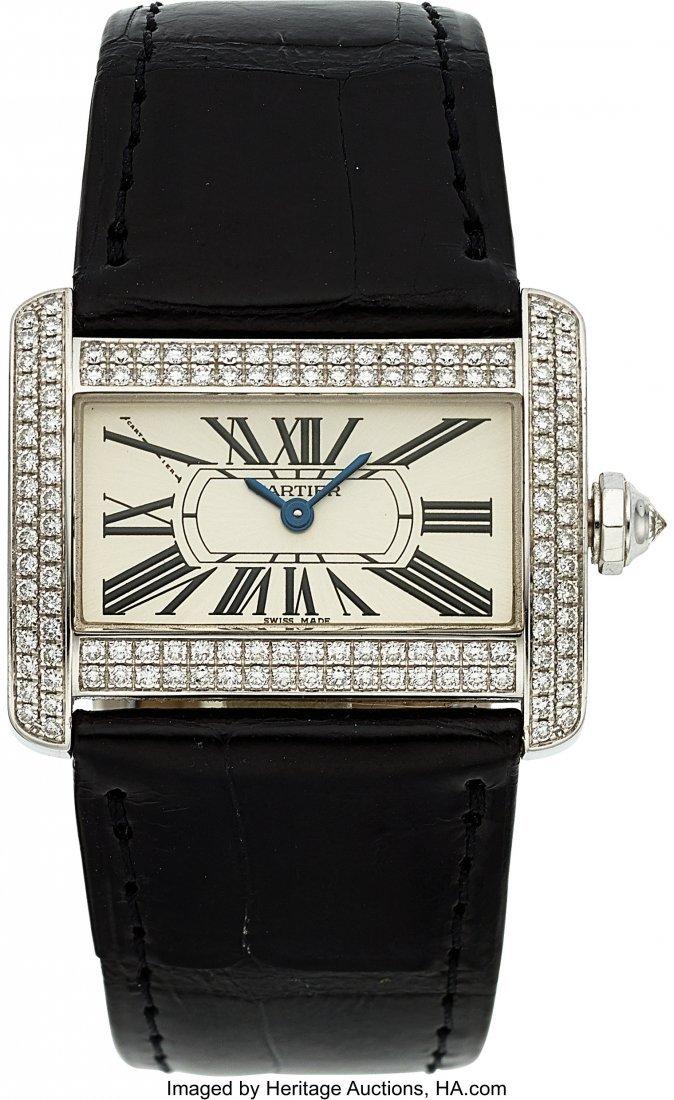 54054: Cartier Very Fine White Gold & Diamond Lady's Ta