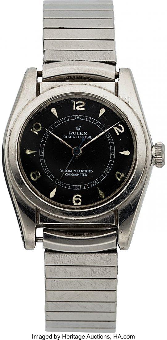 54139: Rolex Ref. 2940 Black Dial Steel Bubble Back, ci