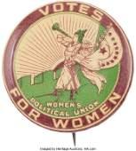 43176: Woman's Suffrage: Clarion Trumpet Button. Rare a