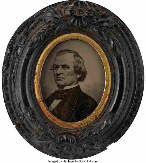 """Andrew Johnson: Tintype Wall Plaque. 1 1/2"""" x 1"""